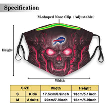 Load image into Gallery viewer, Bills Skull Lava Anti-infective Polyester Face Mask With Filter-Heroinhere
