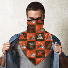 Load image into Gallery viewer, Browns Team Ugly Christmas Obacle Seamless Bandana Rave Face Mask-Heroinhere