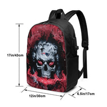 Load image into Gallery viewer, 3D Skull Patriots Travel Laptop Backpack USB Backpack 17 IN-Heroinhere