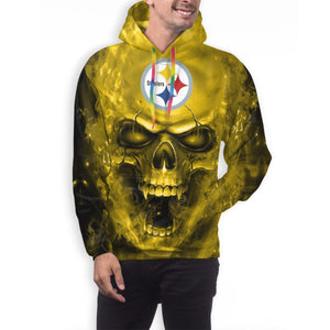 3D SKull Steelers Hoodies For Men Pullover Sweatshirt-Heroinhere