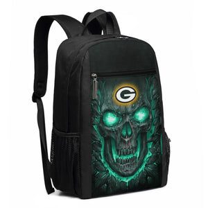 Packers 3D Skull Lava Travel Laptop Backpack 17 IN-Heroinhere
