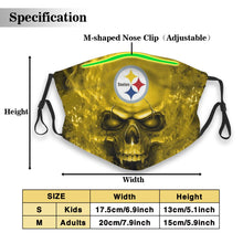 Load image into Gallery viewer, 3D SKull Steelers Anti-infective Polyester Face Mask With Filter-Heroinhere