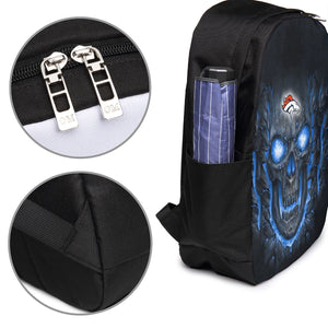 Broncos Skull Lava Travel Laptop Backpack USB Backpack 17 IN-Heroinhere