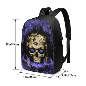 3D Skull Ravens Travel Laptop Backpack USB Backpack 17 IN-Heroinhere