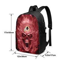 Load image into Gallery viewer, 3D Skull Redskins Travel Laptop Backpack USB Backpack 17 IN-Heroinhere