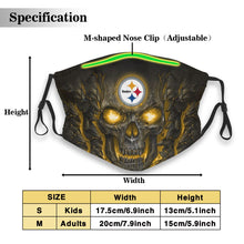 Load image into Gallery viewer, Steelers Skull Lava Anti-infective Polyester Face Mask With Filter-Heroinhere