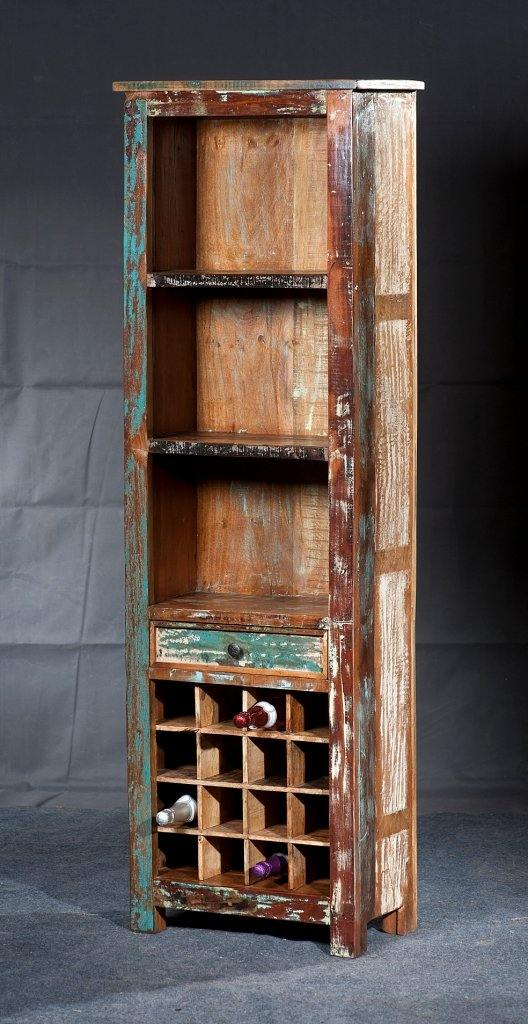 Reclaimed Teak Wine Rack with Shelves - Cedartree Home
