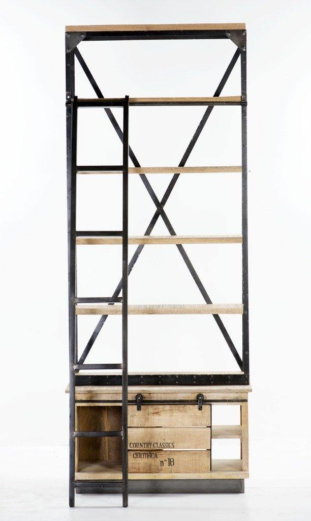 Unique Industrial Bookcase w/ladder - Cedartree Home