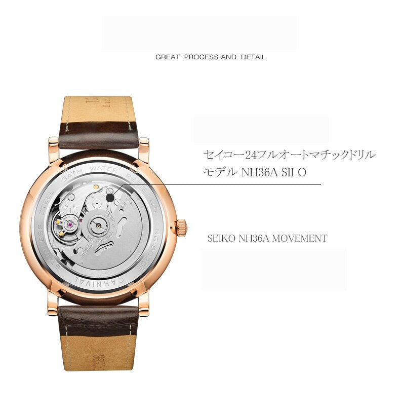 Carnival Mechanical Seiko Movement Waterproof