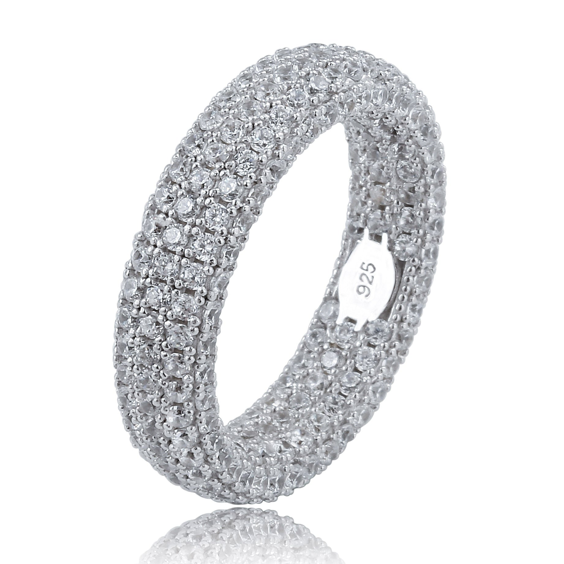 925 sterling silver ring studded with cubic zirconia