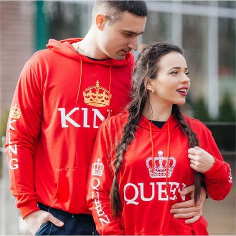 sweat shirt king queen rouge