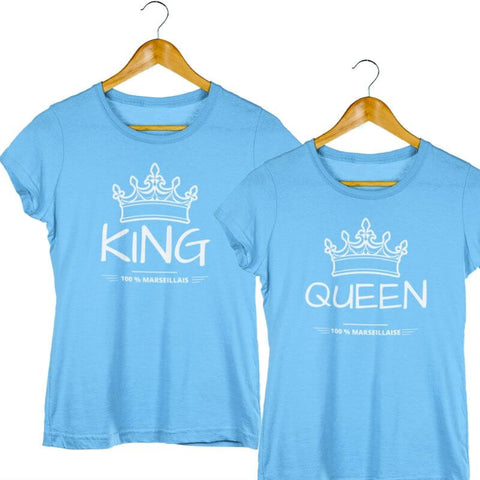 T-Shirt Couple <br> King Queen 100% Marseille