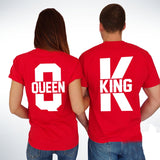 Les 2 T-shirt Couple Queen & King Rouge Assortis