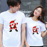 Les 2 T-shirt Couple Père Noël December  blanc