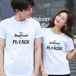 Le lot de deux t-shirt couple from boyfriend to fiancé and from girlfriend to fiancée