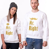 Les 2 Sweats Couple Mr. Right Mrs. Always Right drole et pas cher