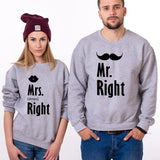 Les 2 Sweats Couple Mr. Right Mrs. Always Right Gris