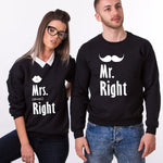 Les deux Sweats Couple Mr. Right Mrs. Always Right noir