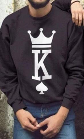 Les 2 Pulls Couple Poker King&Queen modele homme king