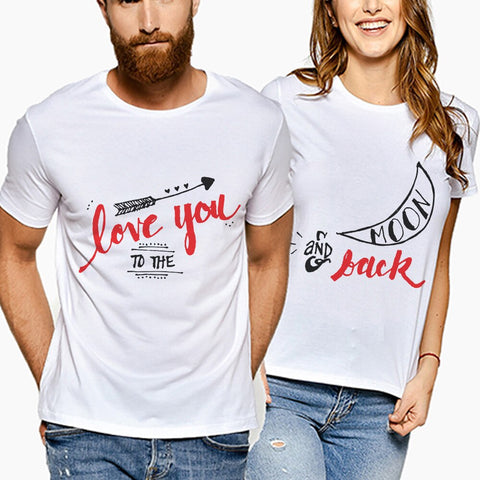 T-Shirt assortis couple lettre d'amour