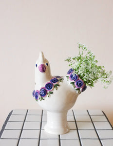 Flowery chicken vase