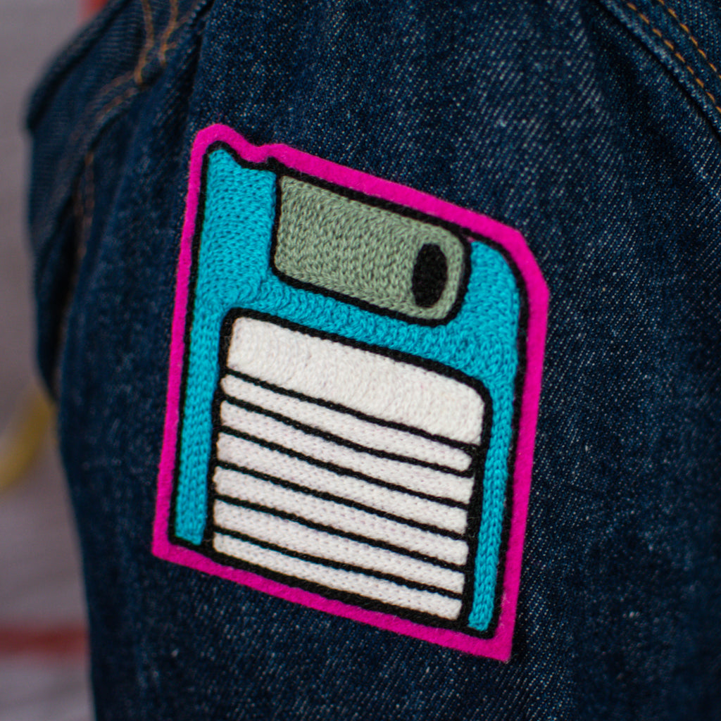 Blue Floppy Disc - Chainstitch Patch