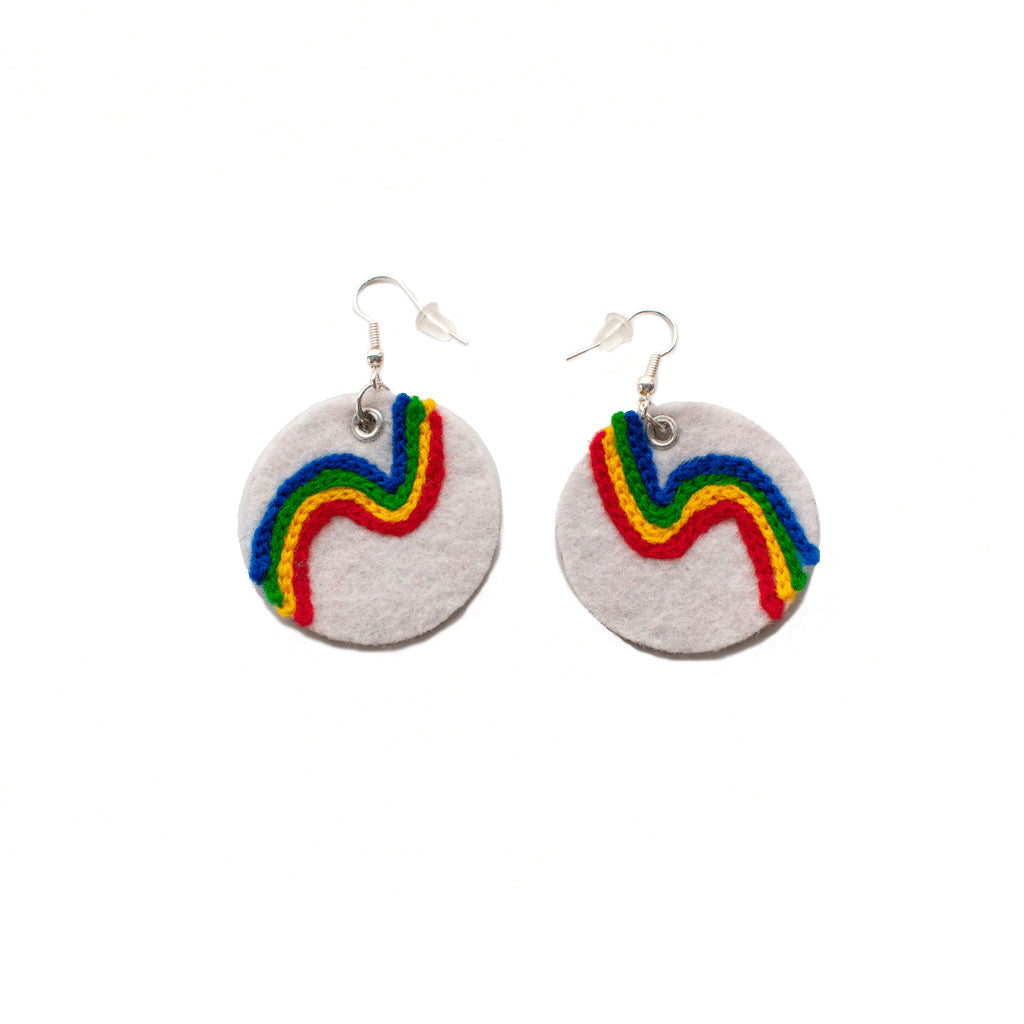 Rainbow Chainstitch Earrings