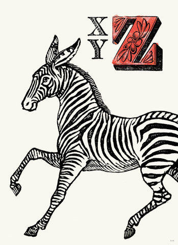 Chapbook Alphabet Prints-  XYZ Zebra
