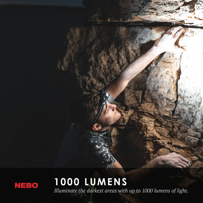 NEBO TRANSCEND All in one Headlamp or Magnetic Work Light | 1000 Lumens Turbo | Rechargeable