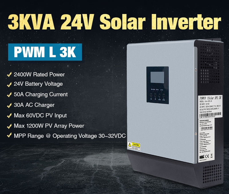 3000VA Solar Inverter 24vDC 220VAC Pure Sine Wave W/PWM Charge Controller