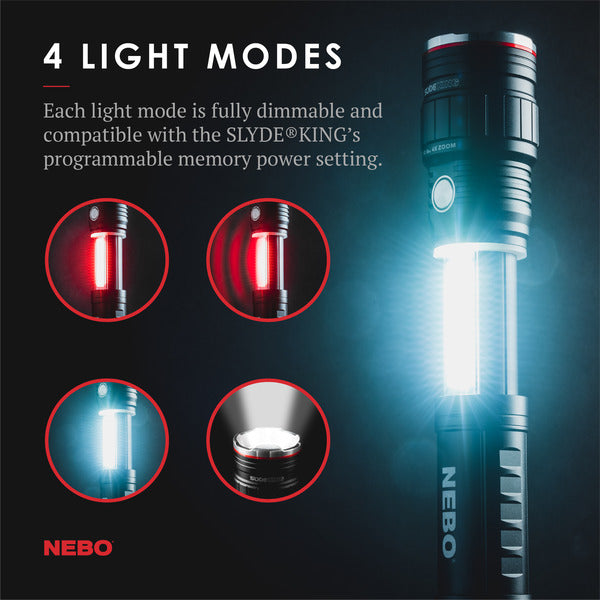 NEBO SLYDE KING | Dual 500 Lumen Rechargeable Work Light and 4X Zoom Flashlight