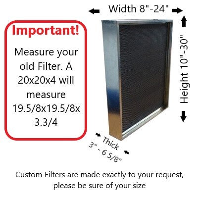 Thick Custom Size CARTER | MERV 8 | HVAC & Furnace Filter | Washable Electrostatic | High Capacity