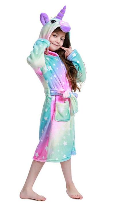 2020 Newest Unicorn Bathrobe for Girls,Premium Flannel Hooded Robe-Unicorn Gifts