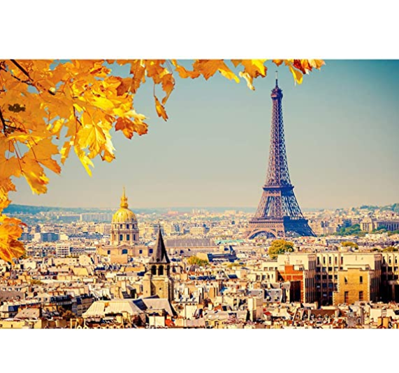 1000 Piece Jigsaw Puzzle, Eiffel in Autumn Floor Puzzle for Kids Adult