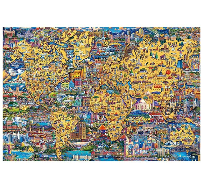 Adults Puzzle Game Jigsaws Picture 1000 Pieces Wooden DIY Jigsaw Puzzle Modern Art Home Decor - Great for Family Time - Promotes Problem-Solving (75 x 50 cm)