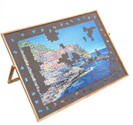 Load image into Gallery viewer, Adjustable Wooden Puzzle Board Easel Non-Slip Felt Surface Puzzle Table Accessory for Up to 1,500 Pieces Puzzles