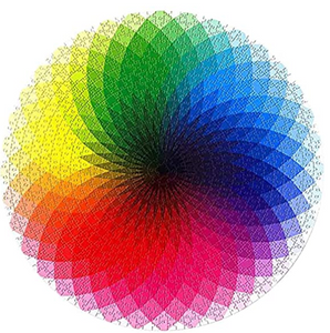 1000 Piece Jigsaw Puzzle, Round Gradient Color Rainbow Puzzle for Kids Adult