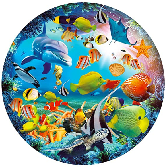 Puzzle-Magic Seaworld-1000 Pieces Jigsaw Puzzle Rich Color Challenge Round Jigsaw Puzzles