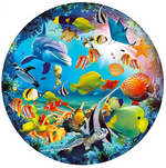 Load image into Gallery viewer, Puzzle-Magic Seaworld-1000 Pieces Jigsaw Puzzle Rich Color Challenge Round Jigsaw Puzzles