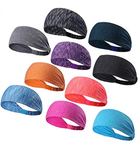 Set of 10 Women's Yoga Sport Athletic Headband for Running Sports Travel Fitness Elastic Wicking Workout Non Slip Lightweight Multi Headbands Headscarf fits All Men and Women