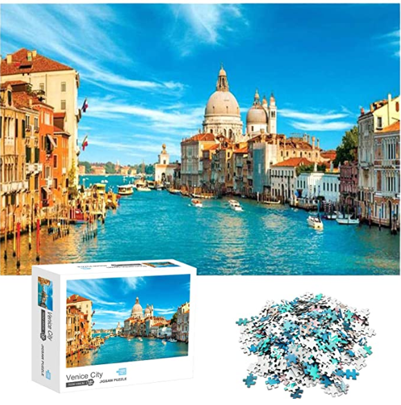 Jigsaw Puzzles 1000 Pieces for Adults Venice City Educational Fun Game Intellectual Decompressing Interesting Puzzle