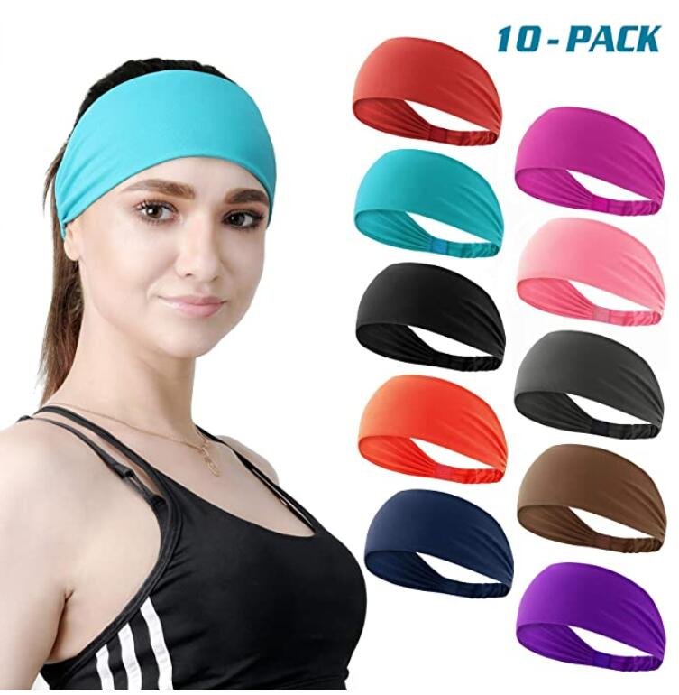 Set of 10 Women's Workout Headband Non Slip Lightweight Multi Headbands Headscarf for Yoga Running Sports Travel Athletic Fitness Elastic Wicking fits All Women & Men