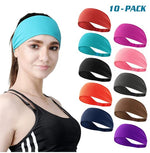 Load image into Gallery viewer, Set of 10 Women's Workout Headband Non Slip Lightweight Multi Headbands Headscarf for Yoga Running Sports Travel Athletic Fitness Elastic Wicking fits All Women & Men