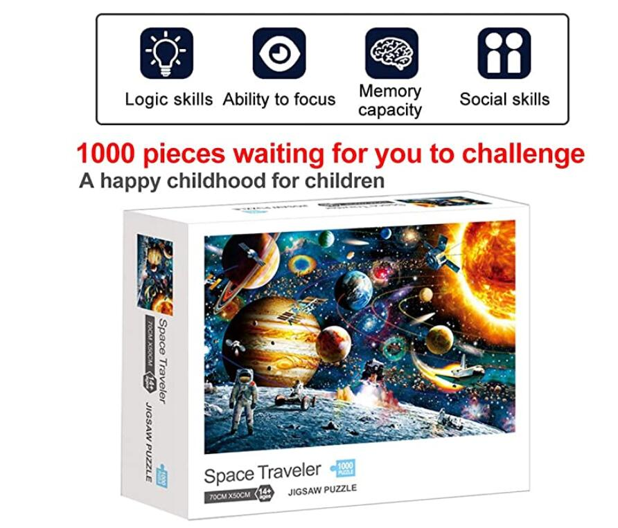 Space Puzzles Jigsaw Puzzles 1000 Pieces for Adults Kids – Jigsaw Puzzle Planets in Space Educational Intellectual Decompressing Fun Family Games DIY Toys for Gift
