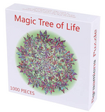 Load image into Gallery viewer, Puzzle-Magic Tree of Life -1000 Pieces Colorful Leaves Mandala Challenge Blue Board Round Jigsaw Puzzles