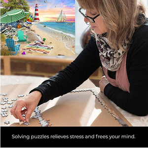 Puzzles for Adults 1000 Piece, Alonea Jigsaw Puzzle Educational Intellectual Decompressing Fun Family Game Holiday Gift Pattern Toy for Kids Adults (Seaside Beach Vacation) (Orange)