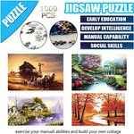 Load image into Gallery viewer, Jigsaw Puzzles - 1000 Pieces Picture Assembling Game for Children and Adult - Educational Learning Toy Gift for Boys and Girls - Home Rimless Classcal Landscape Digital DIY Decoration Painting (A)