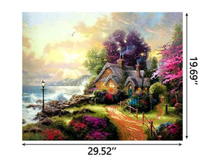 1000PCS Jigsaw Puzzle Kids Adults, Large Intellectual Educational Game,  Beach - House Art Project for Home Wall Decor