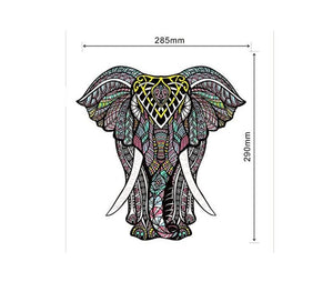 Wooden Jigsaw Puzzles – Decorative Elephant Hartmaze HM-06 Small Size Puzzle 171 Unique Shape Jigsaw Pieces-Beautiful Animal for Adults and Kids- Best for Family Game Play Collection.
