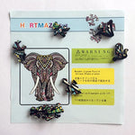 Load image into Gallery viewer, Wooden Jigsaw Puzzles – Decorative Elephant Hartmaze HM-06 Small Size Puzzle 171 Unique Shape Jigsaw Pieces-Beautiful Animal for Adults and Kids- Best for Family Game Play Collection.